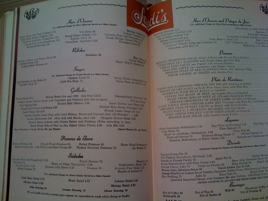 A Treasury Of Recipes - Vincent & Mary Price - Sardi's Menu