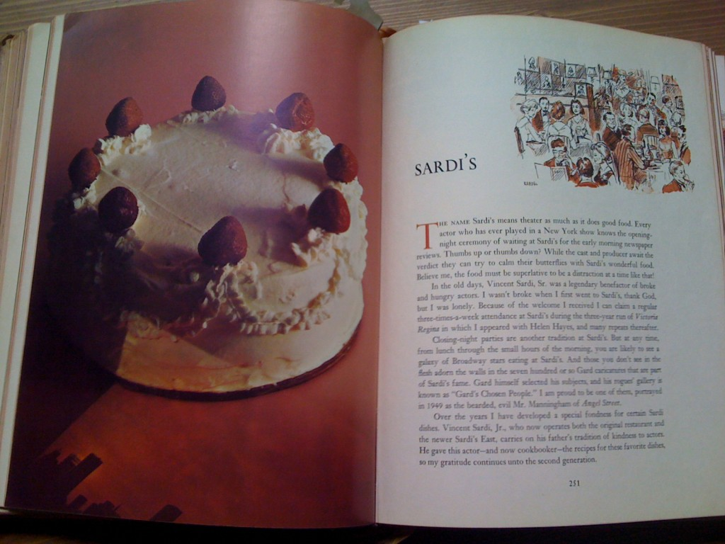 A Treasury Of Recipes - Vincent & Mary Price - Sardi's Intro Page