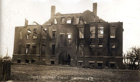 The remants of the burnt school in Collinwood