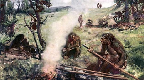 Neanderthals gathered about a fire - from http://www.time.com/time/health/article/0,8599,1912195,00.html