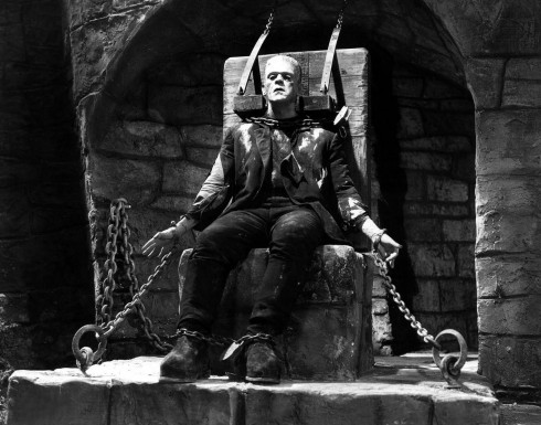 Karloff in The Bride of Frankenstein (Click for full image, it's worth it)