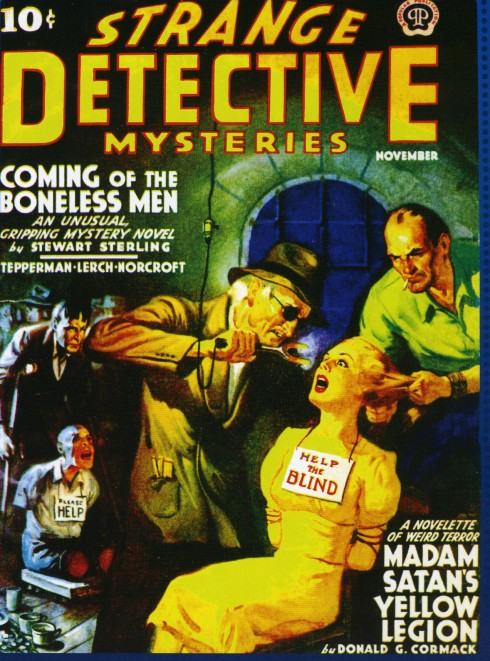 Strange Detective Mysteries - Coming of the Boneless Men - Help the blind pulp cover