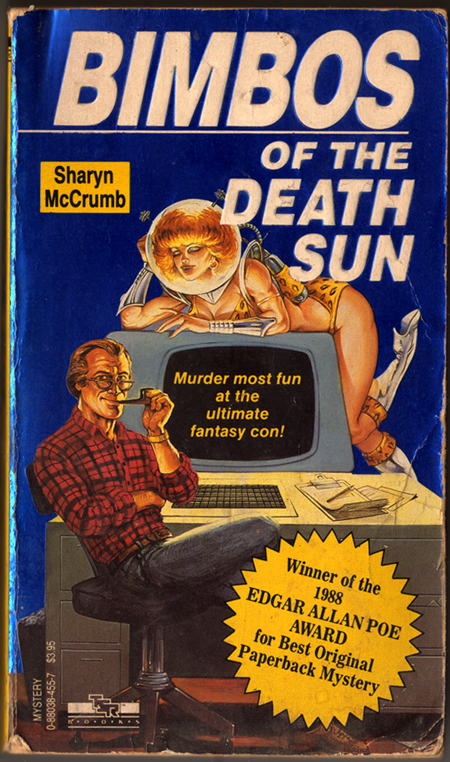 Bimbos of the Death Sun, pulp cover with computer