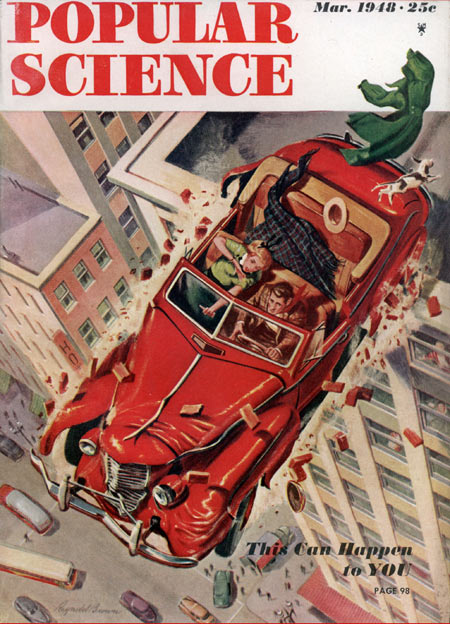 Popular Science Cover, car driving off building