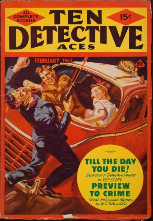 Ten Detective Aces - Feburary 1943 - Pulp Cover - Taxi Car Fight